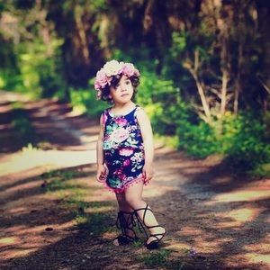 Floral Romper with Matching Head Band